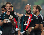 New Zealand players celebrate with the trophy after winning the Cup Final during the Cathay Pacific / HSBC Hong Kong Sevens at the Hong Kong Stadium on 30 March 2014 in Hong Kong, China. Photo by Juan Flor / Power Sport Images