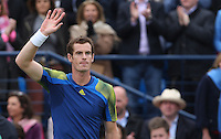 13.06.13 London, England. Andy Murray celebrates after beating Nicolas Mahut during the The Aegon Championships from the The Queen's Club in West Kensington.