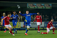 Joe Piggott of AFC Wimbledon competes for the ball during the Sky Bet League 1 match between AFC Wimbledon and Charlton Athletic at the Cherry Red Records Stadium, Kingston, England on 10 April 2018. Photo by Carlton Myrie / PRiME Media Images.