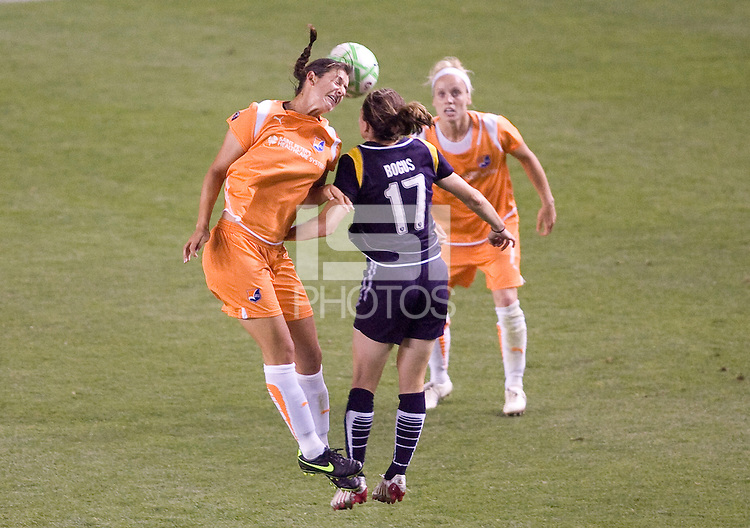 Midfielders Yael Averbuch of Sky Blue FC and Liz Bogus of LA Sol battle in the air. The LA Sol defeated Sky Blue FC 1-0 at Home Depot Center stadium in Carson, California on Friday May 15, 2009.   .