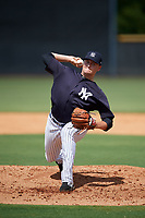 New York Yankees pitcher Jordan Foley (52) delivers a pitch during a Florida Instructional League game against the Pittsburgh Pirates on September 25, 2018 at Yankee Complex in Tampa, Florida.  (Mike Janes/Four Seam Images)