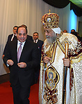 "Egyptian Coptic Pope Tawadros II , Pope of the Coptic Orthodox Church of Alexandria, and Patriarch of Saint Marc Episcopate receives Egyptian President Abdel Fattah al-Sisi, at the new Coptic Cathedral at the new Coptic Cathedral ""The Nativity of Christ"", in Cairo, Egypt, January 6, 2018. Photo by Egyptian President Office"