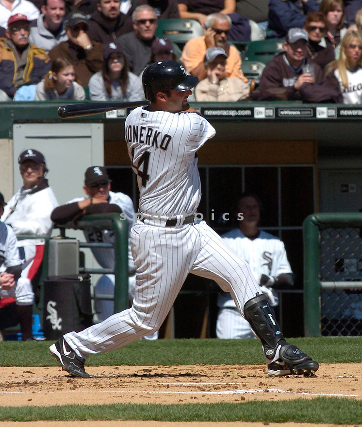 Paul Konerko, of the Chicago White Sox, in action against the Cleveland Indians on April 4, 2006 in Chicago...Indians win 8-2....Chris Bernacchi / SportPics