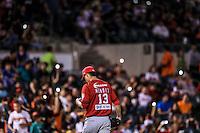 Salida de Ozzie Mendez, durante partido3 de beisbol entre Naranjeros de Hermosillo vs Mayos de Navojoa. Temporada 2016 2017 de la Liga Mexicana del Pacifico.<br /> © Foto: LuisGutierrez/NORTEPHOTO.COM