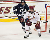 Trent Ruffolo (Yale - 11), Patrick Wey (BC - 6) - The Boston College Eagles tied the visiting Yale University Bulldogs 3-3 on Friday, January 4, 2013, at Kelley Rink in Conte Forum in Chestnut Hill, Massachusetts.