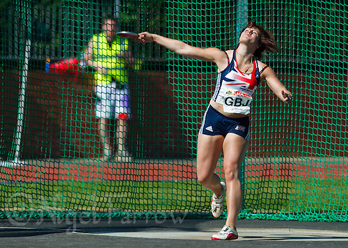 23 MAY 2010 - LOUGHBOROUGH, GBR - Tesni Ward (GB Juniors) releases during the Womens Discus at the Loughborough International Athletics (PHOTO (C) NIGEL FARROW)