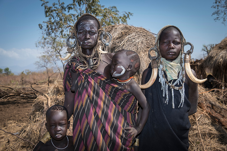 The easiest Mursi village to visit is some two hours' drive from the park headquarters.  Even entire families turn out to greet travelers  with the hopes of getting very small amounts of money in exchange for having their picture taken.