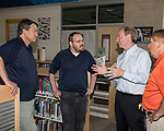 Microsoft president and chief legal officer Brad Smith meets with Fernley middle school IT staff in Fernley, Nevada on Tuesday, July 18 2017.