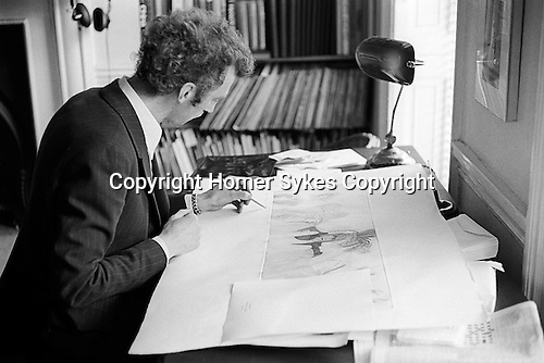Patrick Procktor artist London 1968. Patrick signing and dedicating an aquatint &quot;The Language of Flowers&quot;. He wrote &quot;For Homer W Sykes who's pictures are so clear.&quot;  It was given as a gift in exchange for some photographs I had taken of him. Manchester Street flat. <br />