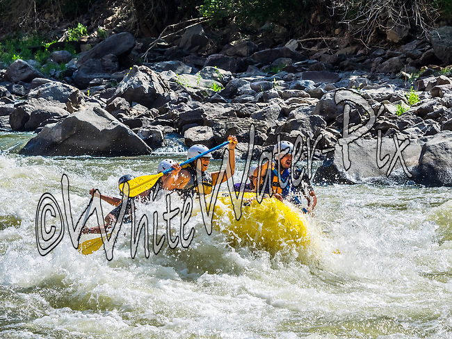 Nova Guides crashing Man-Eater Rapid while running while running Shoshone in Glenwood Canyon on the Colorado River on the afternoon of August 10, 2014.
