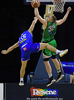 Shea Ili (Saints) and Wally Ellenson (Jets) in action during the national basketball league match between Cigna Wellington Saints and Manawatu Jets at TSB Bank Arena in Wellington, New Zealand on Sunday, 30 June 2019. Photo: Dave Lintott / lintottphoto.co.nz