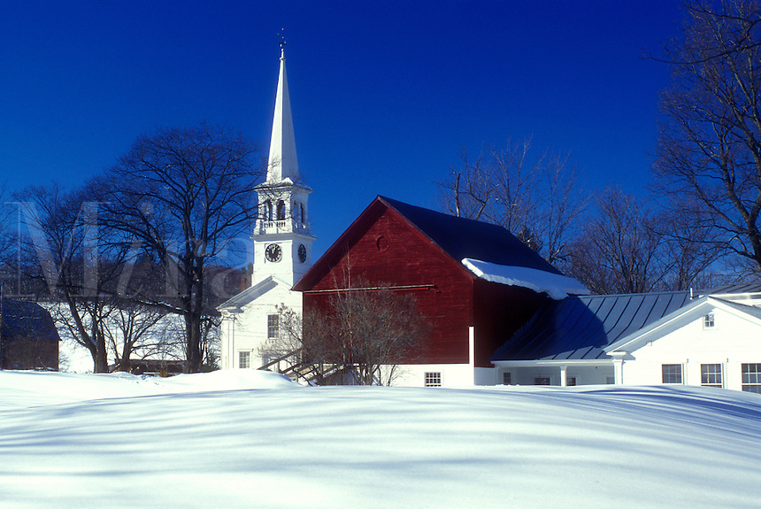 village, Vermont, Peacham, VT, Snow-covered scenic village of Peacham with red barn and the Congregational Church.