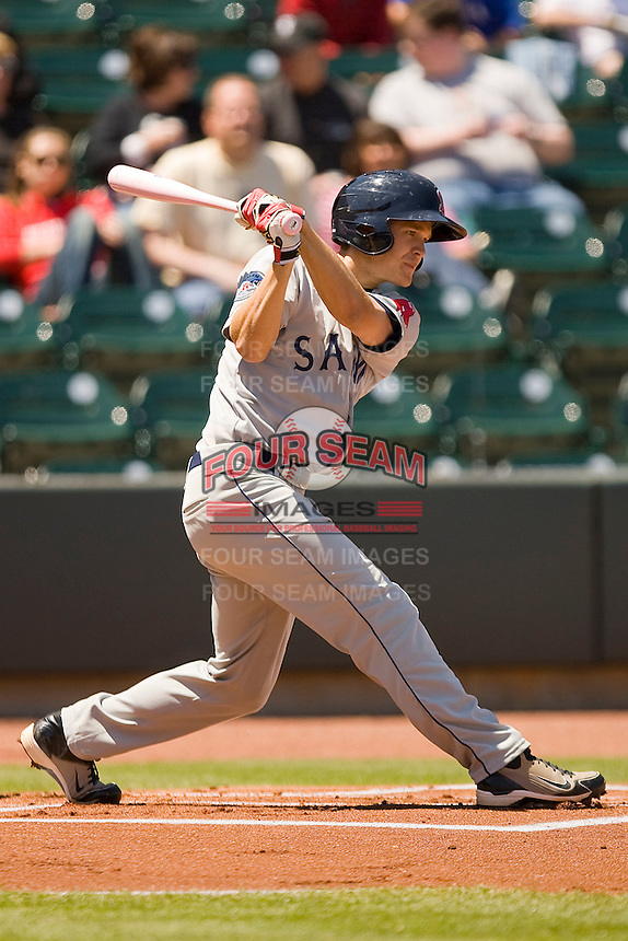 Peter Hissey #10 of the Salem Red Sox follows through on his swing against the Winston-Salem Dash at  BB&T Ballpark May 9, 2010, in Winston-Salem, North Carolina.  Photo by Brian Westerholt / Four Seam Images