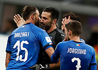 Soccer Football - 2018 World Cup Qualifications - Europe - Italy vs Sweden - San Siro, Milan, Italy - November 13, 2017 <br /> Italy's Captain Gianluigi Buffon (c) Andrea Barzagli (l) and Jorginho(r) look dejected at the end of the FIFA World Cup 2018 qualification football match between Italy and Sweden at the San Siro stadium in Milan, on November 13, 2017. <br /> Italy failed to reach the World Cup for the first time since 1958.<br /> UPDATE IMAGES PRESS/Isabella Bonotto