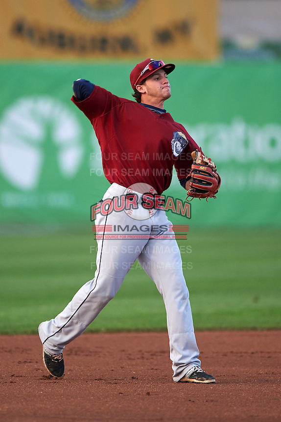 Mahoning Valley Scrappers third baseman Alexis Pantoja (6) warmup throw to first a game against the Auburn Doubledays on September 4, 2015 at Falcon Park in Auburn, New York.  Auburn defeated Mahoning Valley 5-1.  (Mike Janes/Four Seam Images)