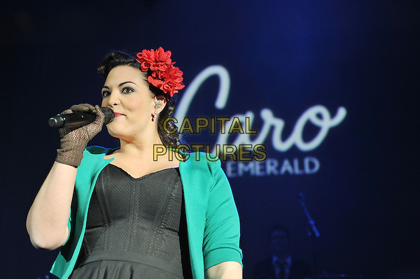 Caro Emerald (Caroline Esmeralda van der Leeuw).performing live in concert, Shepherd's Bush Empire, London, England..13th December 2011.on stage gig performance music half length black dress green jacket gloves flower in hair red singing   .CAP/MAR.© Martin Harris/Capital Pictures.