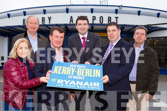 Minister Brendan Griffin with l-r: Norma Moriarty, John Sheahan Kerry Mayor, Niall Kelleher Killarney Mayor, and Basil Sheerin Kerry Airport before they departed for the trade shoe in Berlin last Friday