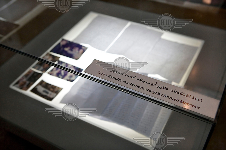 In a small museum at the entrance to news channel Al Jazeera are exhibits about the death of an Al Jazeera cameraman, Tareq Ayoub.