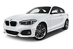 Stock pictures of low aggressive front three quarter view of a 2018 BMW 1 Series M Sport Ultimate 3 Door Hatchback