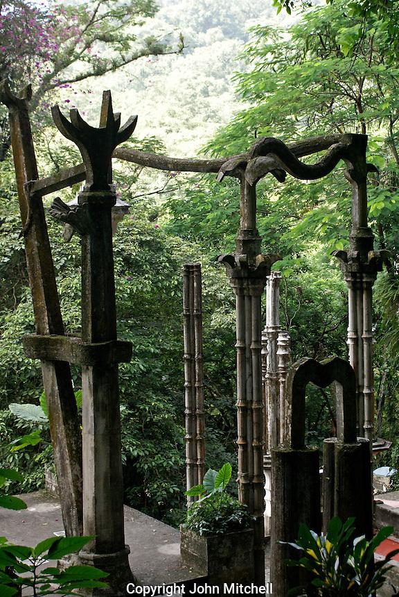 Cement columns at Las Pozas, the surrealistic sculpture garden created by Edward James  near Xilitla, Mexico