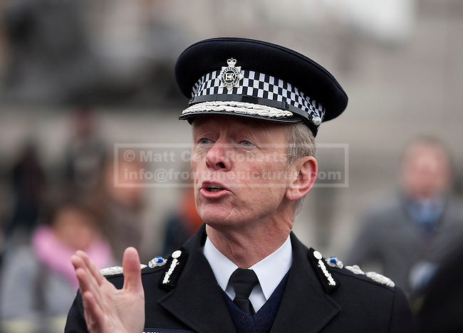 08/02/2012. LONDON, UK. Metropolitan Police Service commissioner Bernard Hogan Howe is seen at an Operation Trident press call at Trafalgar Square in London today (08/02/12). Operation Trident is a Metropolitan Police Service initiative set up to focus on gang and black on black crime in London. Photo credit: Matt Cetti-Roberts