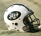 Landover, MD - August 19, 2006 -- A New York Jets helmet sits on the ground near the bench during the pre-game activities at FedEx Field in Landover, Maryland, Saturday, August 19, 2006.  The Jets were in Landover to play the Washington Redskins.<br /> Credit: Ron Sachs / CNP