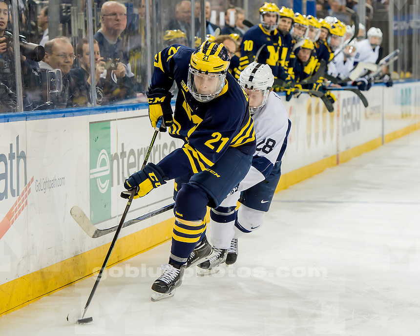 The University of Michigan hockey team beats Penn State, 6-3, at Madison Square Garden in New York City on Jan. 30, 2016.