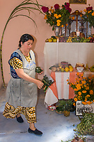 Matatlan; Oaxaca; Mexico; North America.  The Woman of the House, a Zapotec Indian, Spreads Incense Around the Family Altar, Decorated to Celebrate the Day of the Dead.  She does this at noon, the hour the souls of the dead are believed to return to visit their families.