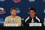 13 December 2007: Wake Forest's Pat Phelan (l) and Julian Valentin (r). The Wake Forest University Demon Deacons held a press conference at SAS Stadium in Cary, North Carolina one day before playing in a NCAA Division I Mens College Cup semifinal game.