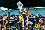 Dr Crokes captain John Payne lifts the Bishop Moynihan cup after winning the Kerry County Senior Club Football Championship Final match between Dr Crokes and Dingle at Austin Stack Park in Tralee, Kerry on Sunday.
