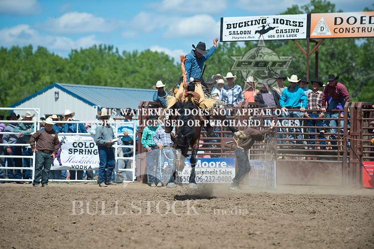 Will Gullickson rides Cleve Schmidts #208 for a stock score of 81.5 at the Fraturity Bucking Horse ABHR event in Miles City MT.  Photo by Josh Homer/Bull Stock Media.