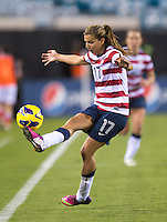 Tobin Heath (17) of the USWNT controls the ball during the game at EverBank Field in Jacksonville, Florida.  The USWNT defeated Scotland, 4-1.