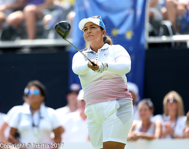 DES MOINES, IA - AUGUST 19: USA's Lizette Salas watches her tee shot on the 1st hole of their afternoon four-ball match Saturday at the 2017 Solheim Cup in Des Moines, IA. (Photo by Dave Eggen/Inertia)