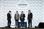 Cheque presentation ceremony at the Longines Speed Challenge during the Longines Masters of Hong Kong at AsiaWorld-Expo on 10 February 2018, in Hong Kong, Hong Kong. Photo by Diego Gonzalez / Power Sport Images