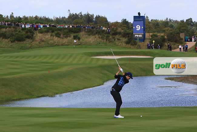 Carlota Ciganda of Team Europe on the 9th fairway during Day 1 Fourball at the Solheim Cup 2019, Gleneagles Golf CLub, Auchterarder, Perthshire, Scotland. 13/09/2019.<br /> Picture Thos Caffrey / Golffile.ie<br /> <br /> All photo usage must carry mandatory copyright credit (© Golffile   Thos Caffrey)