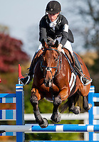 Enchantez, with rider Lindsey Solorzano (USA), competes during the Stadium Jumping test during the Fair Hill International at Fair Hill Natural Resources Area in Fair Hill, Maryland on October 21, 2012.