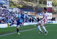 Michael Harriman of Wycombe Wanderers during the Sky Bet League 2 match between Wycombe Wanderers and Cheltenham Town at Adams Park, High Wycombe, England on the 8th April 2017. Photo by Liam McAvoy.