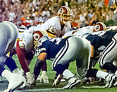 Washington Redskins quarterback Brad Johnson (14) calls signals in third quarter action against the Dallas Cowboys at FedEx Field in Landover, Maryland on Monday, September 18, 2000.  he Cowboys won the game 27 - 21.<br /> Credit: Arnie Sachs / CNP