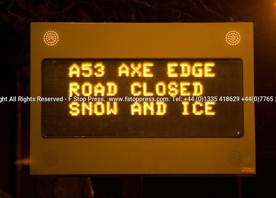 27/01/15<br /> <br /> The A53 Axe Edge in Derbyshire was closed this evening after three vehicles, including two four-by-fours, skidded off the road (one of them 60 ft down a hillside) within a quarter of a mile of each other between Buxton and Leek  after tonight's snowfall and freezing temperatures turned the road surface into sheet ice.<br /> <br /> All Rights Reserved - F Stop Press.  www.fstoppress.com. Tel: +44 (0)1335 418629 +44(0)7765 242650