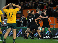 All Blacks first five Beauden Barrett celebrates scoring the matchwinner during the Rugby Championship and Bledisloe Cup rugby match between the New Zealand All Blacks and Australia Wallabies at Forsyth Barr Stadium in Dunedin, New Zealand on Saturday, 26 August 2017. Photo: Dave Lintott / lintottphoto.co.nz