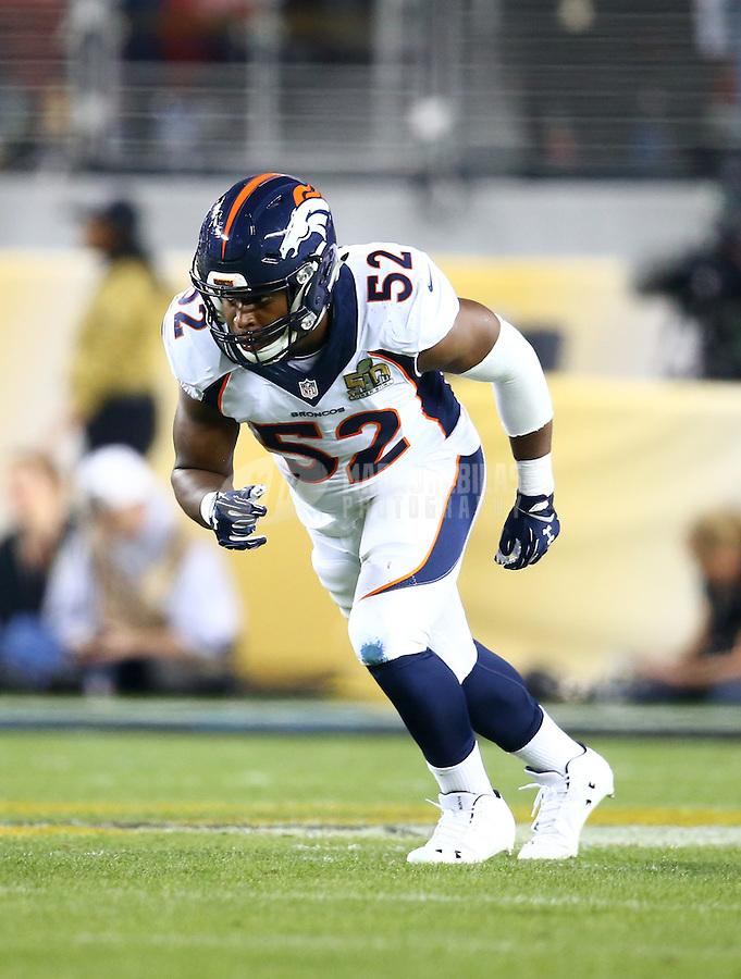 Feb 7, 2016; Santa Clara, CA, USA; Denver Broncos linebacker Corey Nelson (52) against the Carolina Panthers in Super Bowl 50 at Levi's Stadium. Mandatory Credit: Mark J. Rebilas-USA TODAY Sports