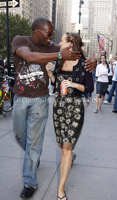 WWW.ACEPIXS.COM . . . . .  ....September 17 2008, New York City....Actress Leighton Meester gets a helping hand from well-known movie set bodyguard 'Q' on the set of the TV show 'Gossip Girl' in midtown Manhattan on September 17 2008 in New York City....Please byline: AJ Sokalner - ACEPIXS.COM..... *** ***..Ace Pictures, Inc:  ..te: (646) 769 0430..e-mail: info@acepixs.com..web: http://www.acepixs.com