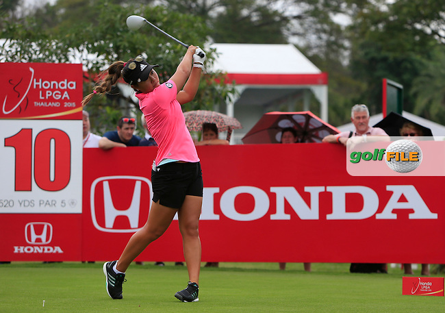 Danielle Kang (USA) on the 10th tee during Round 2 of the Honda LPGA at the Siam Country Club Old Course in Pattaya on Friday 27th February 2015.<br /> Picture:  Thos Caffrey / www.golffile.ie