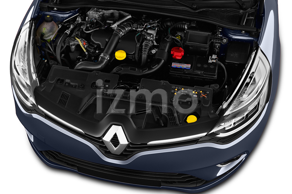 Car Stock 2017 Renault Clio Intnse 5 Door Wagon Engine  high angle detail view