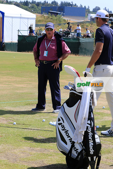 Dustin JOHNSON (USA) watched by Butch Harmon on the range during Tuesday's Practice Day of the 2015 U.S. Open 115th National Championship held at Chambers Bay, Seattle, Washington, USA. 6/16/2015.<br /> Picture &copy; Golffile/Eoin Clarke