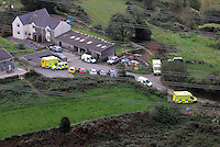 Pictured: Aerial view showing ambulances on stand by at a farm near Gleision Colliery. Friday 16 September 2011<br />