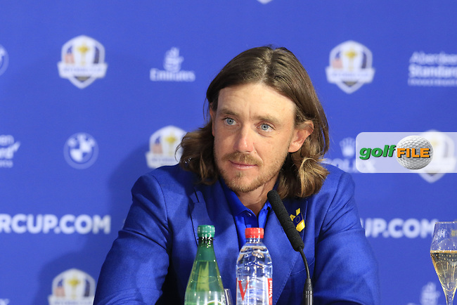 Tommy Fleetwood (Team Europe) at the press conference after Europe win the Ryder Cup 17.5 to 10.5 at the end of Sunday's Singles Matches at the 2018 Ryder Cup 2018, Le Golf National, Ile-de-France, France. 30/09/2018.<br /> Picture Eoin Clarke / Golffile.ie<br /> <br /> All photo usage must carry mandatory copyright credit (© Golffile | Eoin Clarke)