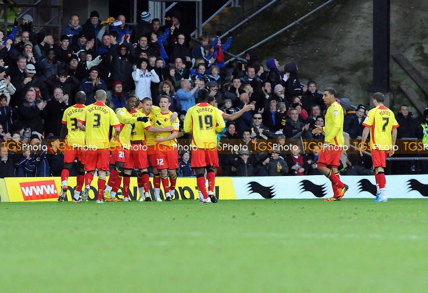 Michael Kightly of Watford shoots and scores - Watford vs Leeds United - nPower Championship Football at Vicarage Road Stadium, Watford, Hertfordshire - 10/12/11 - MANDATORY CREDIT: Anne-Marie Sanderson/TGSPHOTO - Self billing applies where appropriate - 0845 094 6026 - contact@tgsphoto.co.uk - NO UNPAID USE.