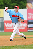 Tyler Duffey (38) of the New Britain Rock Cats delivers a pitch during a game against the Reading Fightin Phils at New Britain Stadium on June 22, 2014 in New Britain, Connecticut. New Britain defeated Reading 5-3.  (Gregory Vasil/Four Seam Images)