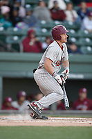 Left fielder Brady Allen (3) of the South Carolina Gamecocks bats in a game against the Furman Paladins on Tuesday, March 19, 2019, at Fluor Field at the West End in Greenville, South Carolina. South Carolina won, 12-7. (Tom Priddy/Four Seam Images)